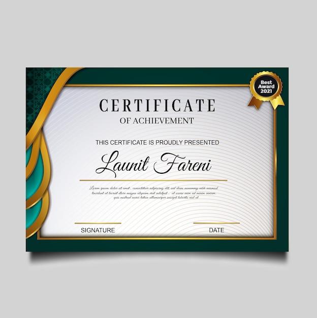 Modelo de certificado de conquista verde elegante Vetor grátis