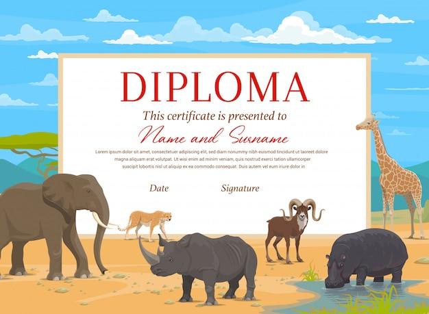 Modelo de certificado de diploma de crianças com animais de safári africano. prêmio educacional de graduação na escola, pré-escola ou jardim de infância, certificado de realização com elefante, rinoceronte, girafa e hipopótamo Vetor Premium