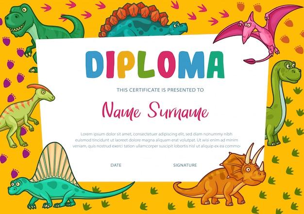 Modelo de certificado de diploma de crianças, prêmio de educação Vetor Premium