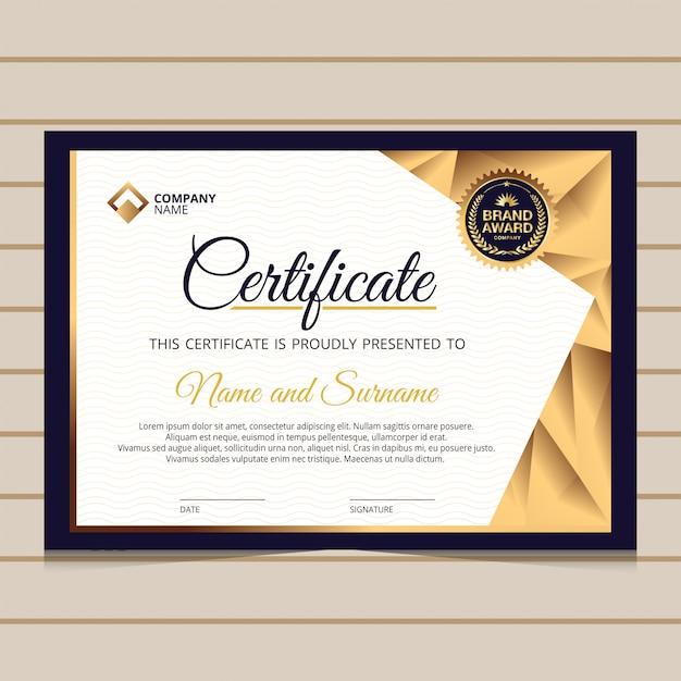 Modelo de certificado de diploma de ouro azul elegante Vetor Premium