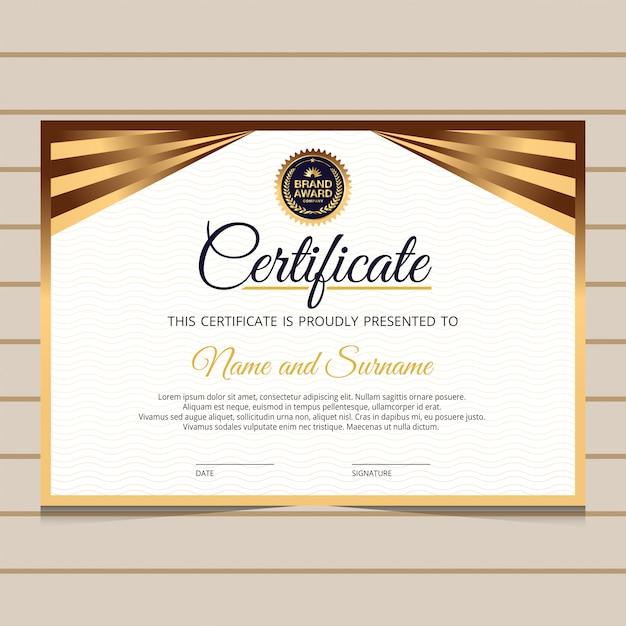 Modelo de certificado de diploma elegante e dourado Vetor Premium