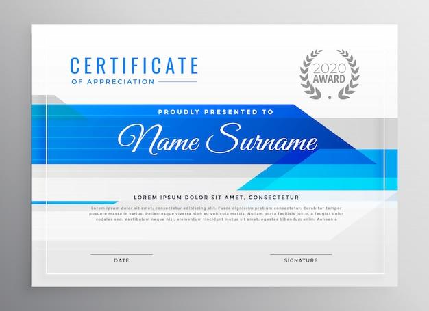 Modelo de certificado de diploma horizontal azul moderno Vetor grátis