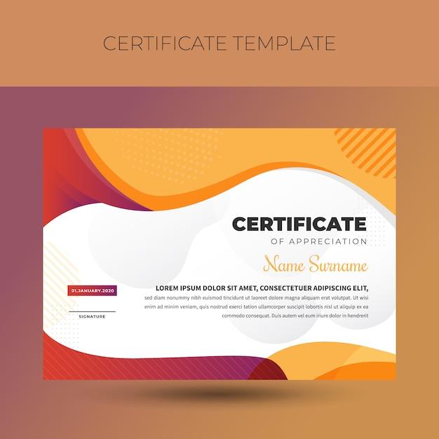 Modelo de certificado de diploma vintage colorido Vetor Premium