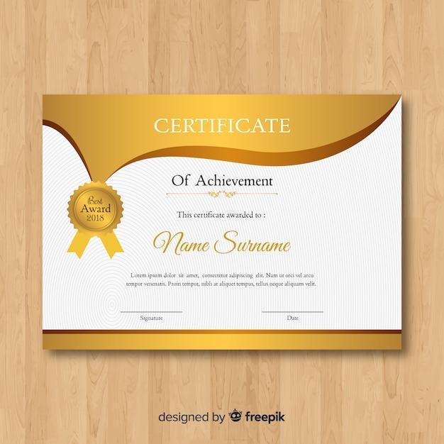 Modelo de certificado de ouro   Baixar vetores grátis
