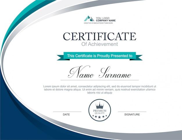 Modelo de certificado de vetor Vetor Premium