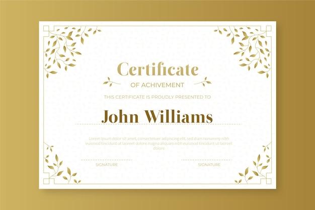 Modelo de certificado dourado elegante Vetor grátis