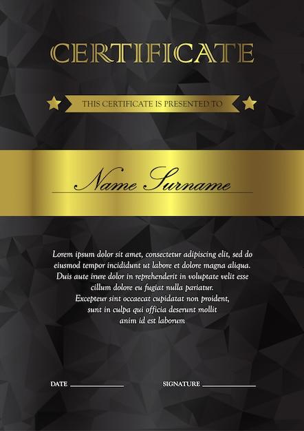 Modelo de certificado e diploma verticais preto e dourado Vetor Premium