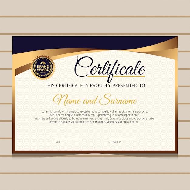 Modelo de certificado elegante com elementos dourados Vetor Premium