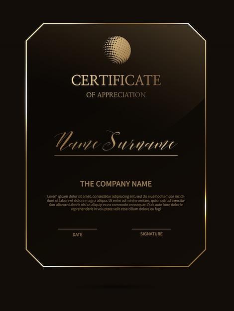 Modelo de certificado elegante com moldura de material de vidro Vetor Premium