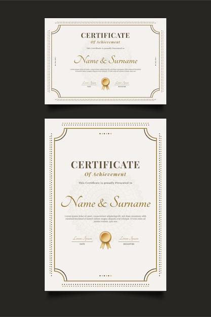 Modelo de certificado elegante com moldura ornamental e estilo clássico Vetor Premium