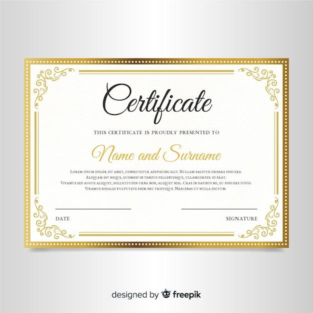 Modelo de certificado elegante com moldura ornamental Vetor grátis