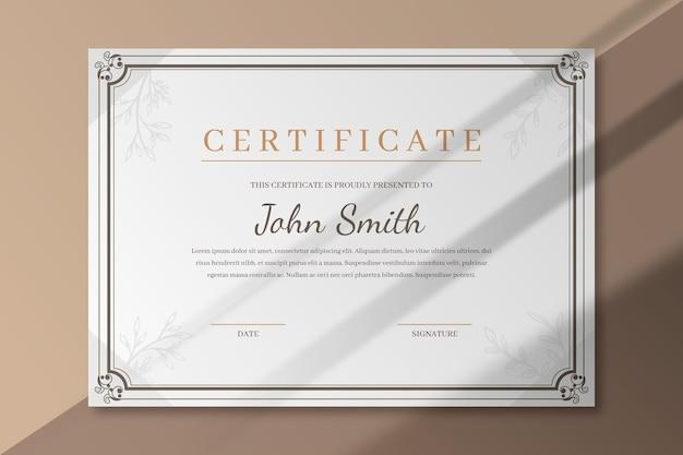 Modelo de certificado elegante com moldura Vetor grátis