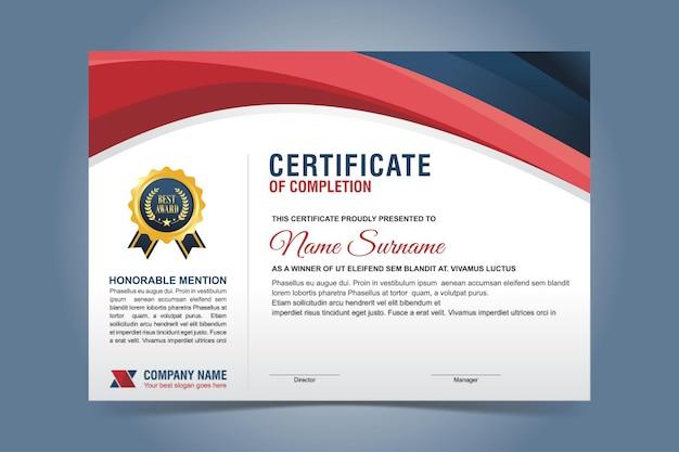 Modelo de certificado elegante em azul e vermelho Vetor Premium