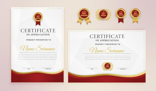 Modelo de certificado elegante moderno em ouro vermelho Vetor Premium