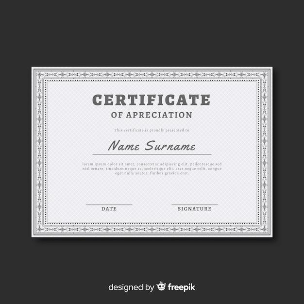 Modelo de certificado em design plano Vetor grátis