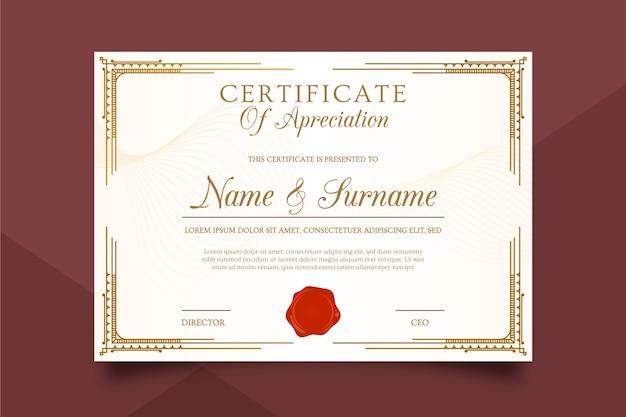 Modelo de certificado luxuoso Vetor grátis
