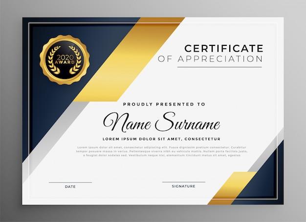 Modelo de certificado multiuso dourado premium geométrico Vetor grátis