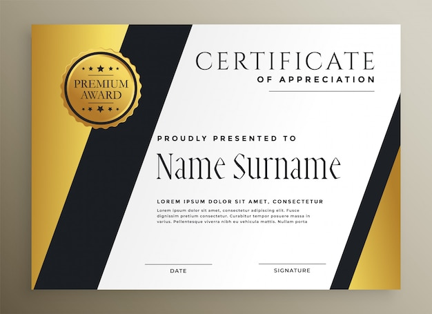 Modelo de certificado premium multiuso geométrico dourado Vetor grátis