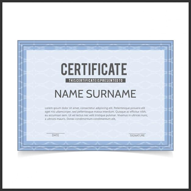 Modelo de certificado vetorial com bordas designe azul Vetor grátis