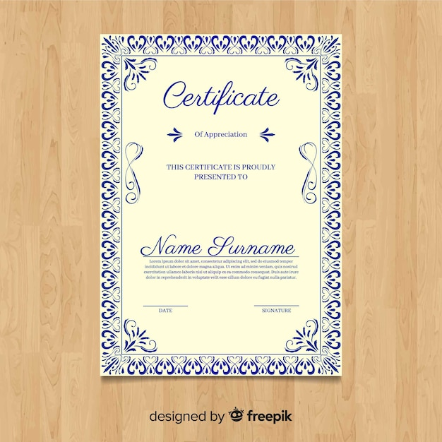 Modelo de certificado vintage decorativo Vetor grátis