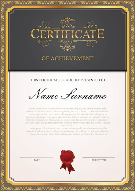 Modelo de certificado Vetor Premium