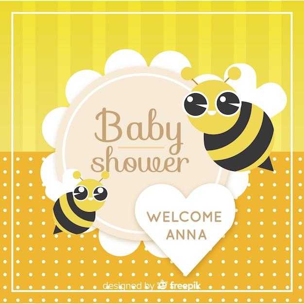 Modelo de chuveiro de bebê fofo com abelhas Vetor grátis
