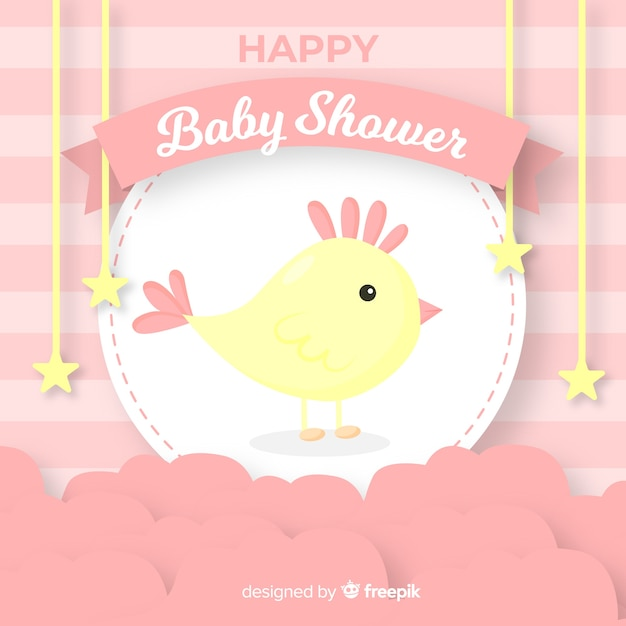 Modelo de chuveiro de bebê para menina Vetor grátis