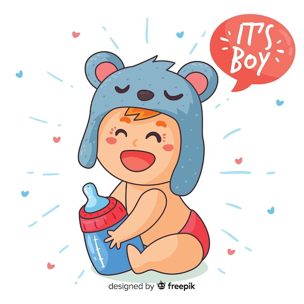 Modelo de chuveiro de bebê para menino Vetor grátis