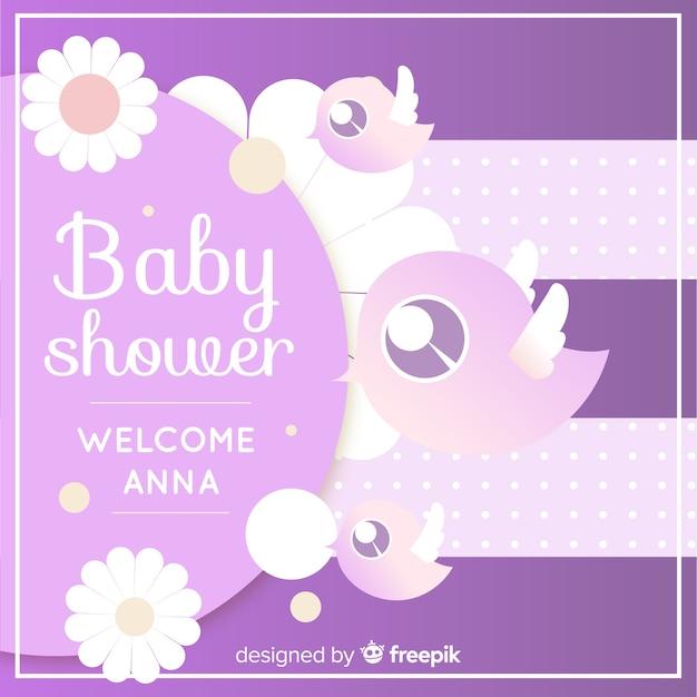 Modelo de chuveiro de bebê roxo fofo Vetor grátis