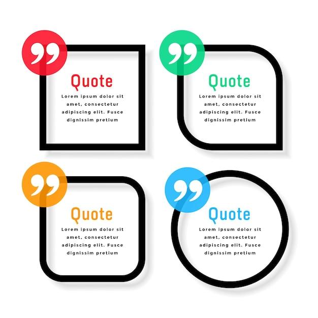 Modelo de citações de estilo de linha em negrito em diferentes formas Vetor grátis