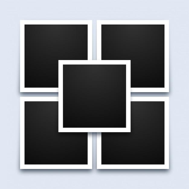 Modelo de colagem de molduras de fotos Vetor Premium