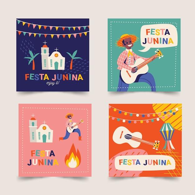 Modelo de coleção de cartão de festa junina Vetor grátis