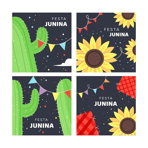 Modelo de coleção de cartão festa junina mão desenhada Vetor grátis