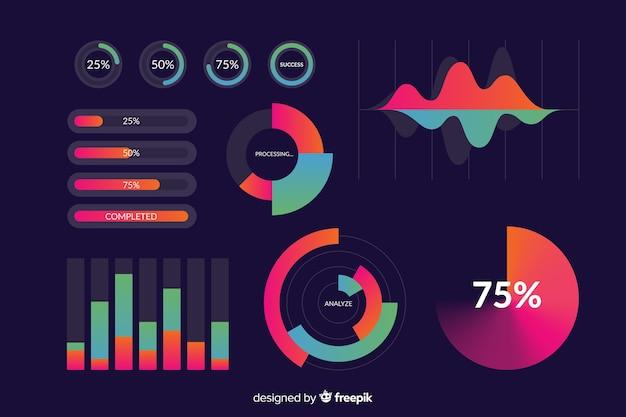 Modelo de coleção de elemento infográfico gradiente Vetor grátis