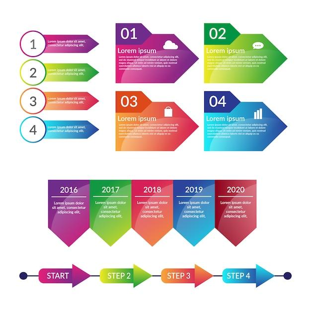 Modelo de coleção de elementos infográfico gradiente Vetor grátis