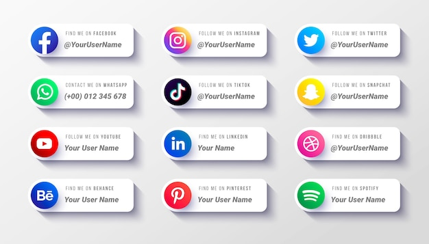 Modelo de coleção de ícones do terço inferior das mídias sociais modernas Vetor grátis