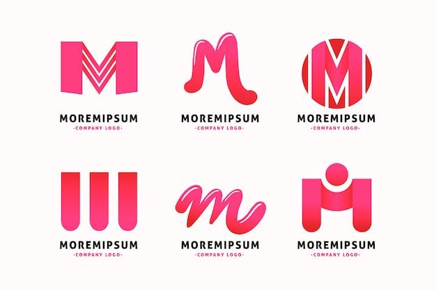 Modelo de coleção de logotipo da letra m Vetor Premium