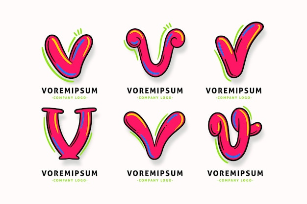 Modelo de coleção de logotipo da letra v Vetor grátis