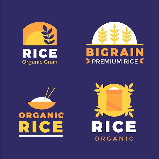 Modelo de coleção de logotipo de arroz Vetor Premium
