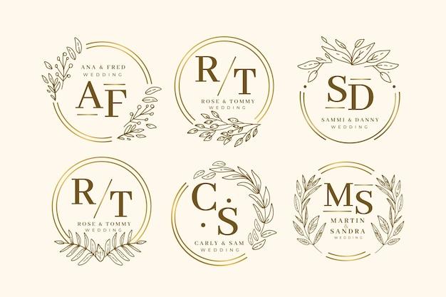 Modelo de coleção de monograma elegante casamento Vetor Premium