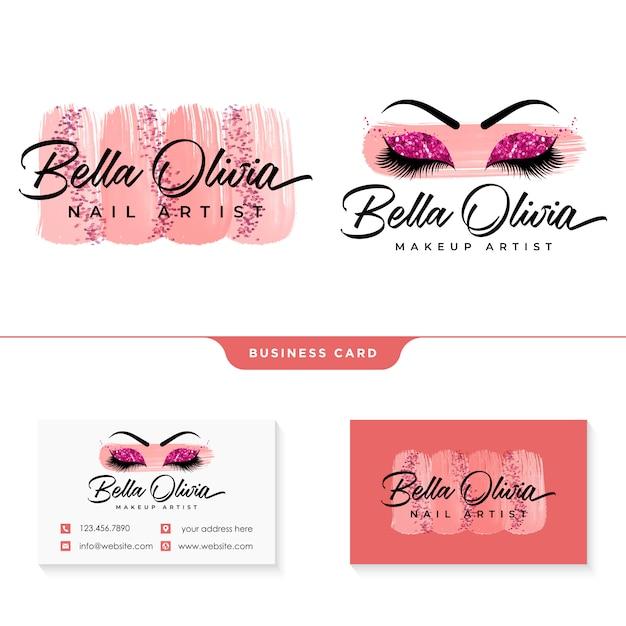 Modelo de coleções de logotipo feminino de maquiagem beleza Vetor Premium