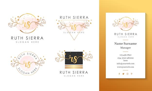 Modelo de coleções de logotipo feminino inicial rs. Vetor Premium