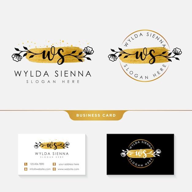 Modelo de coleções de logotipo feminino inicial ws. Vetor Premium