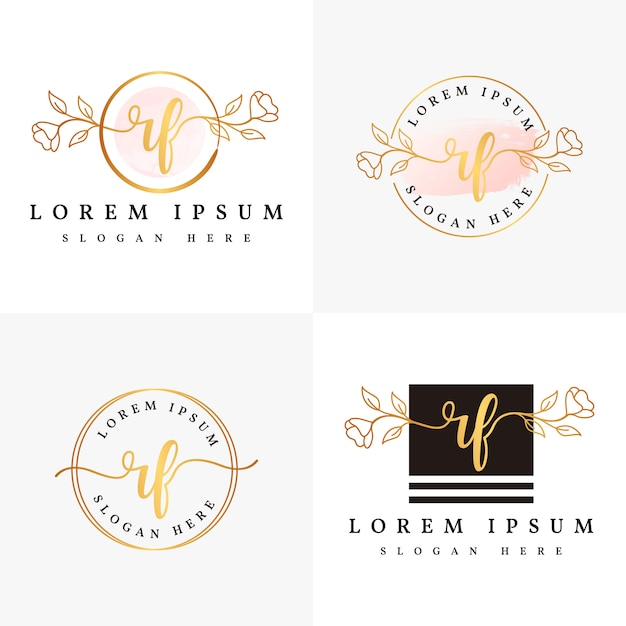Modelo de coleções de logotipo feminino rf inicial. Vetor Premium