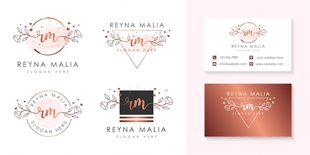 Modelo de coleções de logotipo feminino rm inicial. Vetor Premium
