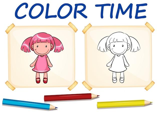 Modelo de colorir com boneca bonito Vetor grátis