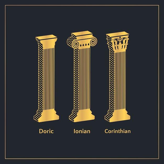 Modelo de colunas gregas antigas douradas Vetor Premium