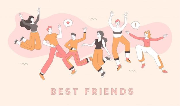 Modelo de comemoração de dia de amizade. melhores amigas festejando juntos, alegres homens e mulheres cartum personagens. alegres jovens adultos em roupas casuais se divertindo contorno ilustração Vetor Premium