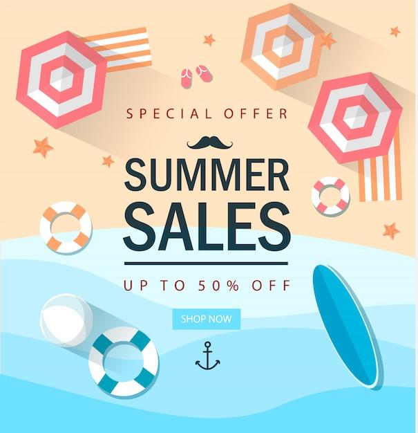 Modelo de comercialização de venda de verão com elemets. fazer compras. conectados. Vetor Premium