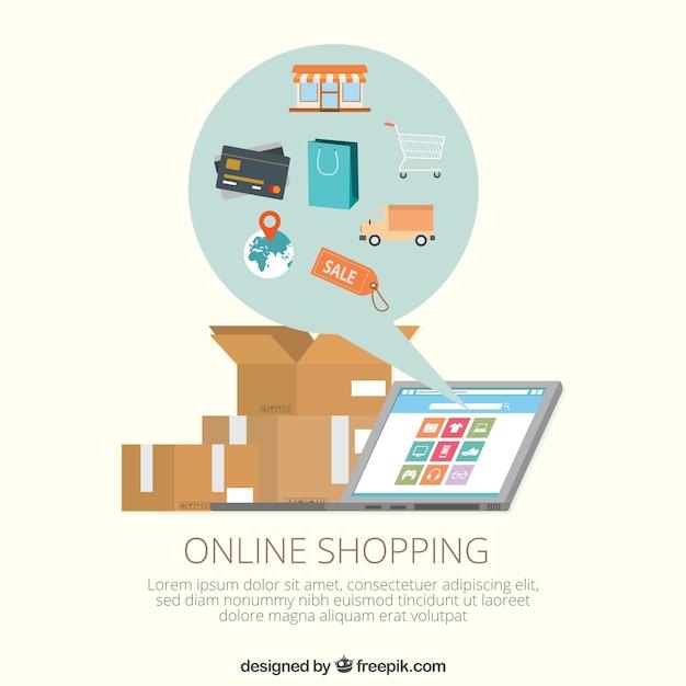 Modelo de compras on-line Vetor grátis